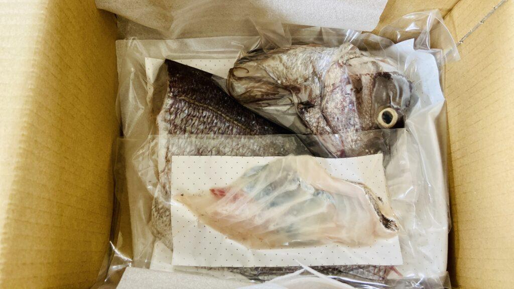 天草産 真鯛1尾食べ尽くしセット開封時